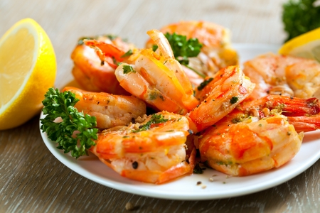 Skewers Barbeque grilled prawns with spicy ingredients. 스톡 콘텐츠