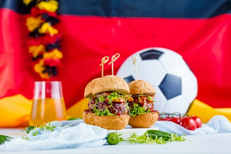fresh delicious burgers in Form of Football soccer.