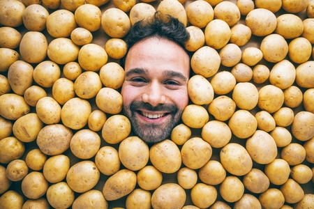 Man with potatoes, concept for food industry. Face of grimacing man in potatoes area