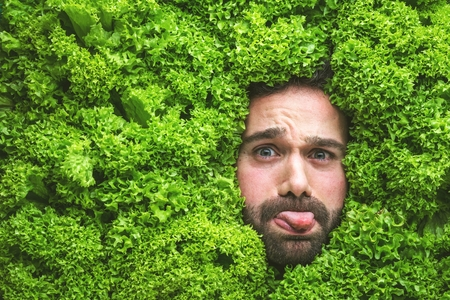 Man with salad leaves, concept for food industry. Face of laughing man in salad area.