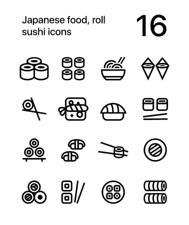 Japanese food, sushi icons for web and app