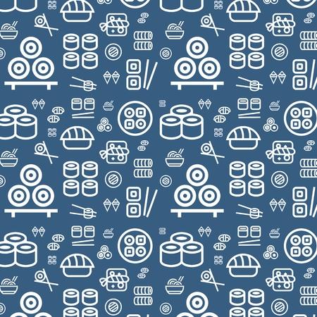 Sushi flat vector background Ilustrace