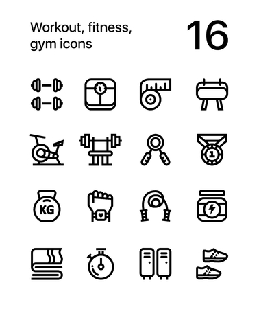 Workout, fitness, gym icons for web and app. Иллюстрация