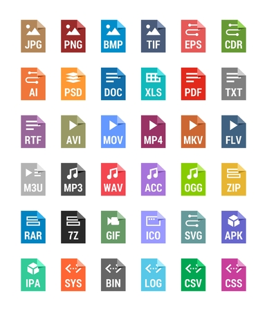 Flat file types icons. Archive, vector, audio, image, system, document formats