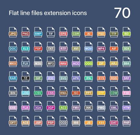 Bestandsextensie platte vector iconen. Geluids-, grafische-, archief-, foto-, document-, internet- en systeemextensies Stock Illustratie