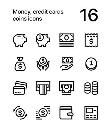 Geld, creditcards, munten, portemonnee