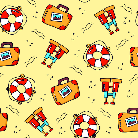 Travel cartoon pattern seamless vector background