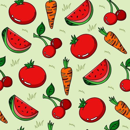 Vegetables cartoon pattern seamless vector background