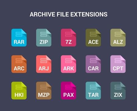Archiveer bestandsextensies. Platte gekleurde vector iconen