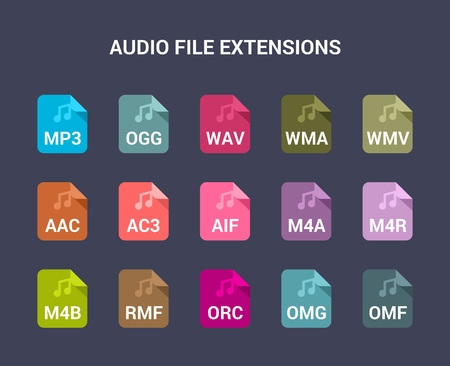 file types: Audio file extensions. Flat colored vector icons