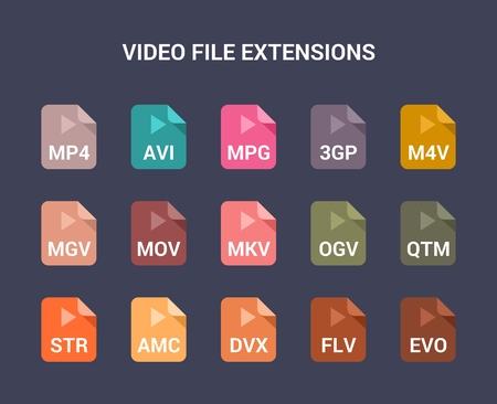Video file extensions. Flat colored vector icons Illustration