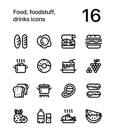 Food, foodstuff, drinks icons for web and mobile design pack 1