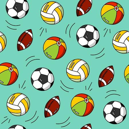 Sport cartoon pattern seamless vector flat background