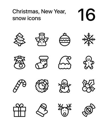 Merry Christmas and Happy New Year icons for web and mobile design pack 1