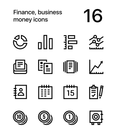 Finance, business, money icons for web and mobile design. 向量圖像