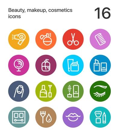 Bunte Schönheit, Kosmetik, Make-upikonen für Netz und bewegliches Design. Standard-Bild - 80842844