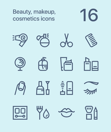 Outline Beauty, cosmetics, makeup icons for web and mobile design.