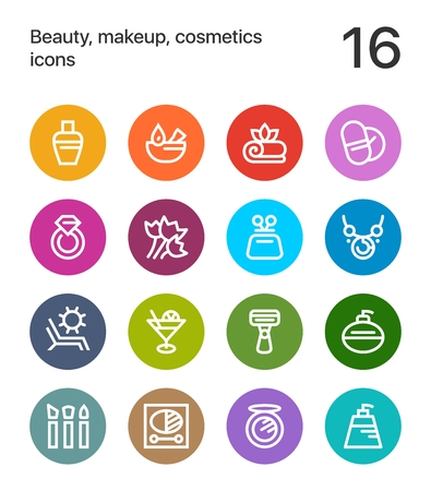 Colorful Beauty, cosmetics, makeup icons for web and mobile design.