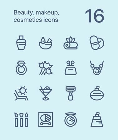 shaver: Outline Beauty, cosmetics, makeup icons for web and mobile design.