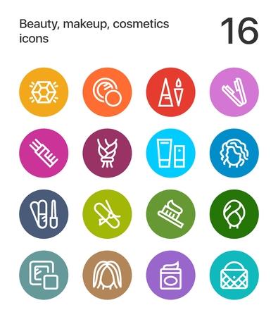 カラフルな美しさ、化粧品、web と携帯電話のデザインのアイコンをメイク。