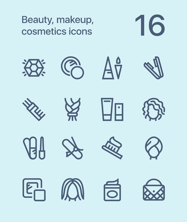 美容、化粧品、web と携帯電話のデザインのアイコンをメイクの概要を説明します。 写真素材 - 80842942