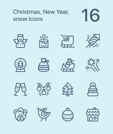 Outline Merry Christmas and Happy New Year icons for web and mobile design. Ilustracja