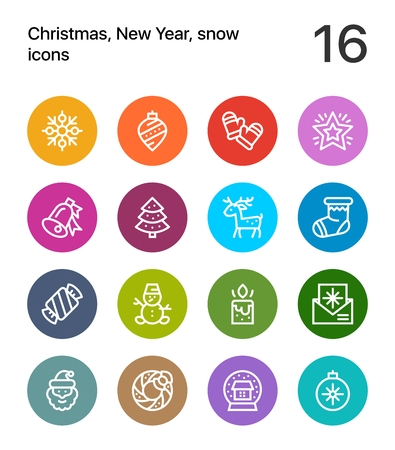 Colorful Merry Christmas and Happy New Year icons for web and mobile design.