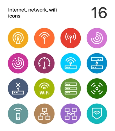 Colorful Internet, network, wifi icons for web and apps