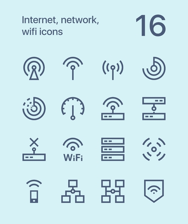 Outline Internet, network, wifi icons for web and apps
