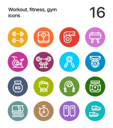 Colorful Workout, fitness, gym icons for web and app