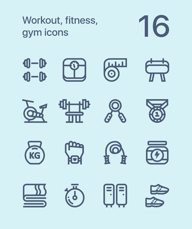 Outline Workout, fitness, gym icons for web and app