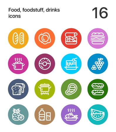 Colorful Food, foodstuff, drinks icons for web and mobile design pack 1