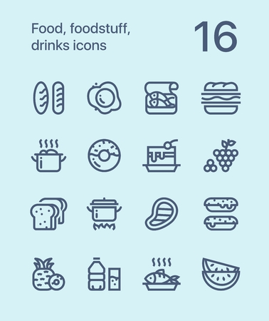Outline Food, foodstuff, drinks icons for web and mobile design pack 1 Ilustrace