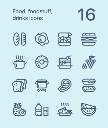 Outline Food, foodstuff, drinks icons for web and mobile design pack 1 Illustration