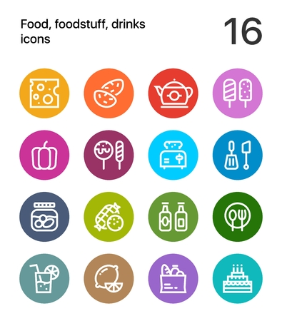 Colorful Food, foodstuff, drinks icons for web and mobile design pack 2
