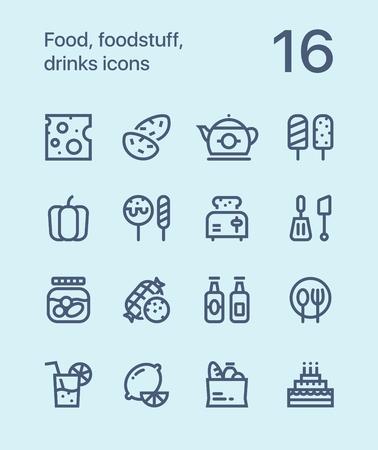 Outline Food, foodstuff, drinks icons for web and mobile design pack 2 Illustration