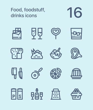 Outline Food, foodstuff, drinks icons for web and mobile design pack 3