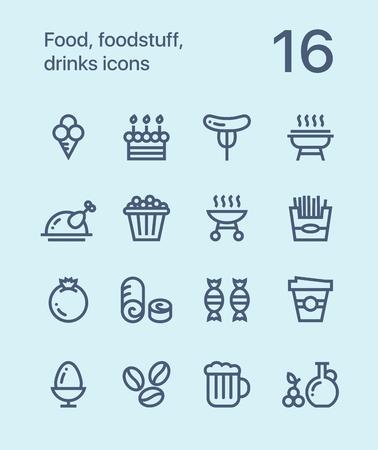 Umriss Lebensmittel, Lebensmittel, Getränke-Icons für Web und Mobile Design Pack 4 Standard-Bild - 80880650