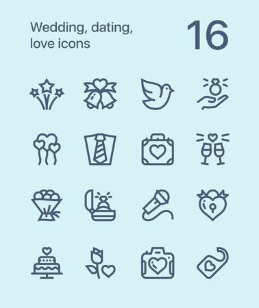 Outline Wedding, dating, love icons for web and mobile design pack 3 Illustration
