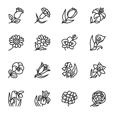 Flowers outline flat vector icon set. Vector illustration for pattern and background Иллюстрация