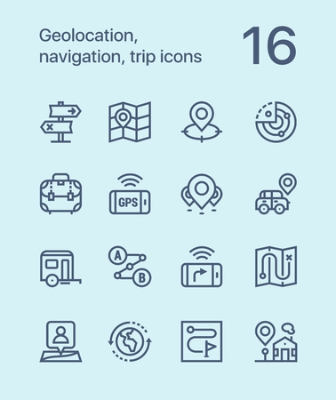 Outline Geolocation, navigation, trip icons for web and mobile design pack 2 Stock Illustratie