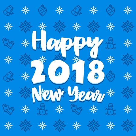 New Year blue and white icon set outline pattern. New Year 2018 flat vector icons background Illustration