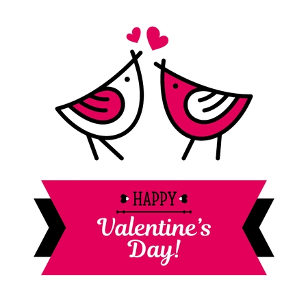 Happy Valentines day card with birds and pink heart vector background pattern on white