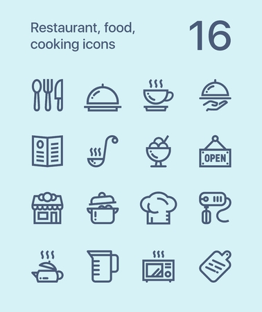 ice tea: Outline Restaurant, food, cooking icons for web and mobile design pack 1 Illustration