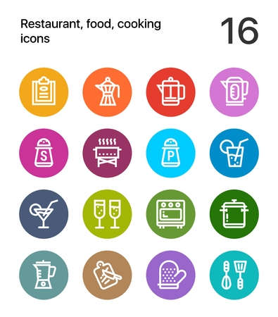the brewer: Colorful Restaurant, food, cooking icons for web and mobile design pack 2 Illustration