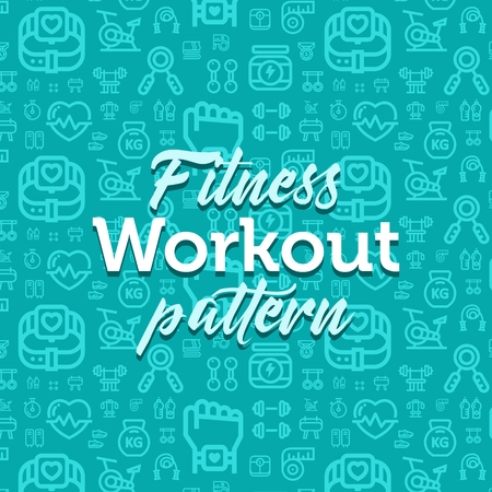 Fitness pattern illustration with vector outline simple flat icons on texture background