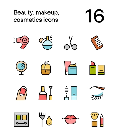 woman mirror: Colored Beauty, cosmetics, makeup icons for web and mobile design pack 1