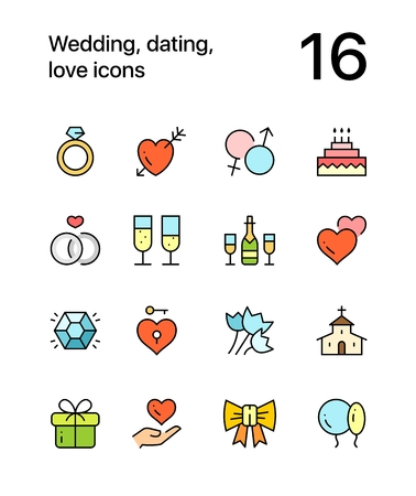 Colored Wedding, dating, love icons for web and mobile design pack 1 向量圖像