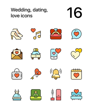 Colored Wedding, dating, love icons for web and mobile design pack 2