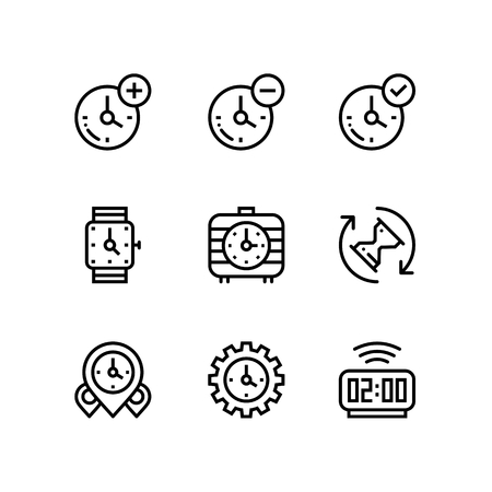 Set of time, clock, watch, timer vector simple outline icons for web and mobile design pack 3